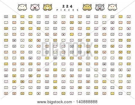 Big set 224 pieces emotions isolated. Cats cute funny. Web emoji. Anger and compassion. Laughter tears. Sadness and surprise. Happiness and fear. Cunning, cheerful.