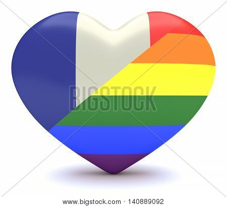 French Tricolor Flag with Gay Pride Rainbow Flag Heart 3d illustration