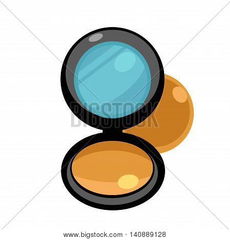 Ivory compact powder with mirror. Vector illustration