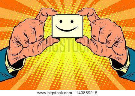 joy face in hands, pop art retro vector illustration