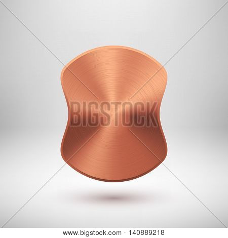 Bronze abstract badge, blank button template with metal texture, chrome, steel, copper, rust and realistic shadow for logo, design concepts, prints, web. Vector illustration.