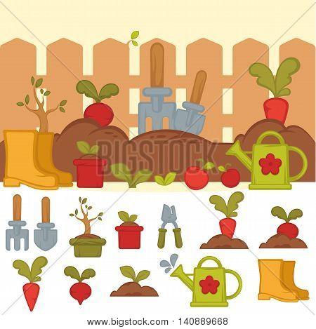 Tools for working in garden. Banner with summer garden landscape in cartoon style. Concept of gardening. Vector Illustration.