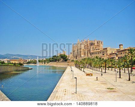 Cathedral La Seu with palms in Palma de Mallorca Spain
