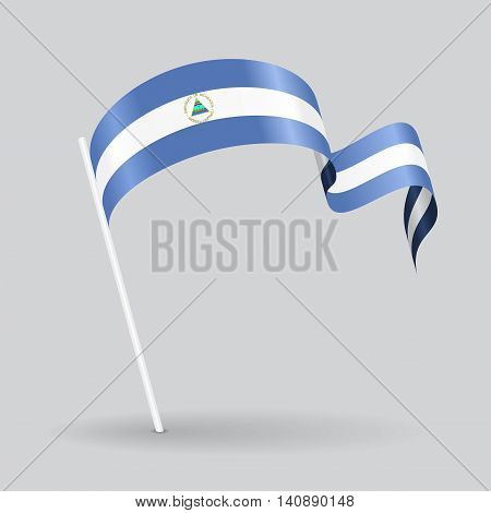 Nicaraguan pin icon wavy flag. Vector illustration.