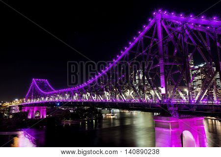 BRISBANE, AUSTRALIA: Story Bridge by Night -magenta, closeup