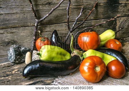 Ripe tomatoes, peppers and eggplant on background of dry twigs and stones of near burnt boards