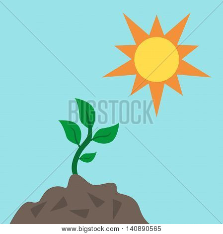 Green young sprout reaching to sun from fertile soil on blue sky background. Life growth environment ecology nature and spring concept. Flat design. Vector illustration. EPS 8 no transparency