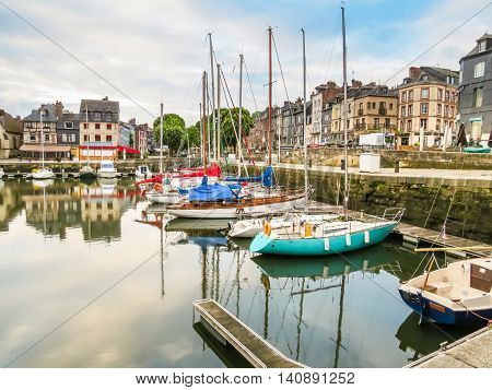 Old harbor Honfleur in early morning. Normandy, France