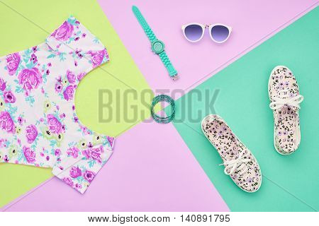 Fashion. Clothes Accessories fashion Set. Stylish woman dress, accessories, Glamor Sunglasses, Trendy Wrist Watches Gumshoes. Summer fashion Outfit, accessories. Essentials, fashion Overhead. Minimal