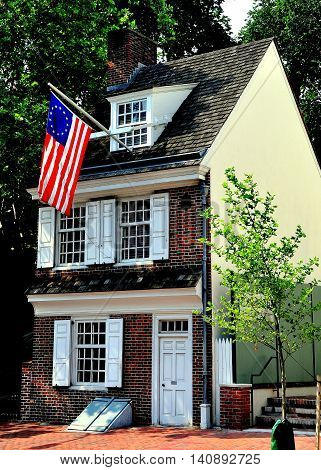 Philadelphia Pennsylvania - June 25 2013: Circa 1740 Betsy Ross House at 239 Arch Street where legend says she lived and designed the first American flag