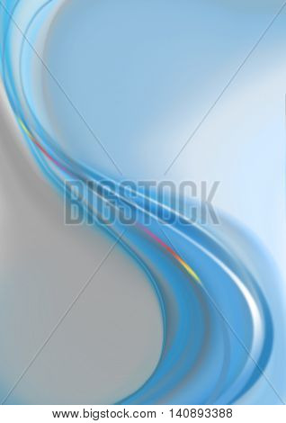 Bluish background with falling waves blue shades coated blue and rainbow strips