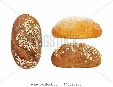 brown bread with bran isolated on white background