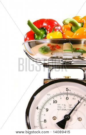 Closeup of kitchen scale with colored peppers