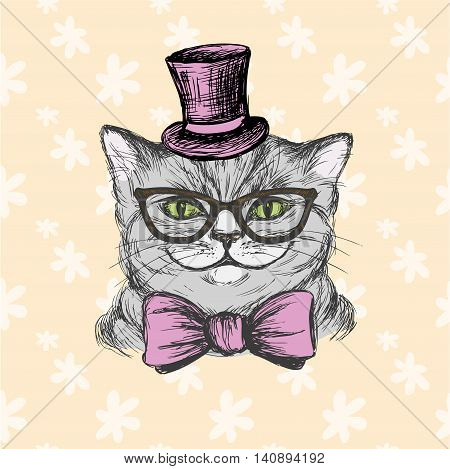Fashion cat in a hat glasses and a bow tie. Hand drawing vector illustration