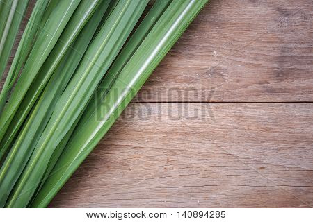 Green Leaf Of Sugar Tree On Wooden Background