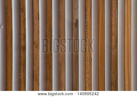 Wood and Metal Slats detail on exterior wall