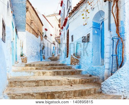 Old street  in the medina, Chefchaouen, Morocco