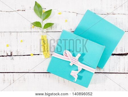 two gift boxes with heart shaped pin and plant in vase on wood. Valentines day background. love romance concept