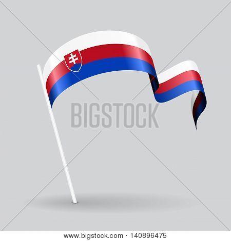 Slovak pin icon wavy flag. Vector illustration.