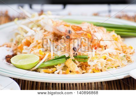 Pad Thai on the plate/ cooking Pad Thai concept