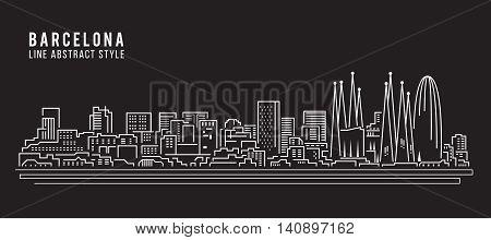 Cityscape Building Line art Vector Illustration design - Barcelona city