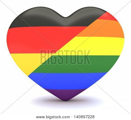 German Flag with Gay Pride Rainbow Flag Heart 3d illustration