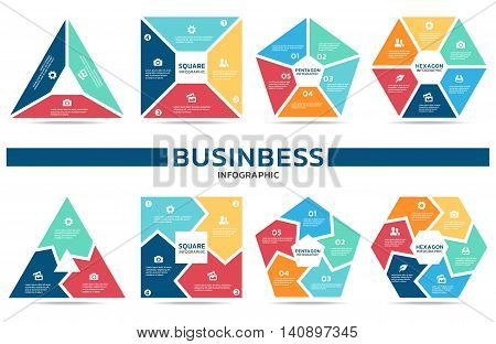 Block infographic for business (part three part four part Five and part six) vector set design