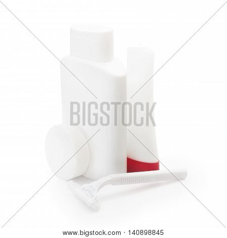 set of cosmetic bottles isolated hotel on a white background with space for text