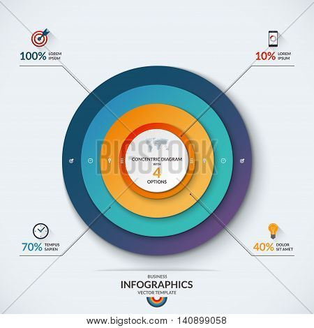 Infographic diagram template with concentric circles. Vector banner with 4 options- 10, 40, 70 and 100 percent. Can be used for web design, presentation, graph, chart, report, data visualization