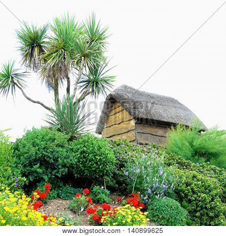 Wooden thatched building on the top of the hill