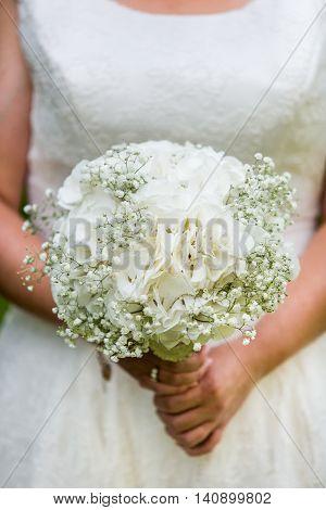 Bride holding Hydrangea, Gypsophila bouquet. Wedding flowers. Bridal white bouquet. Wedding