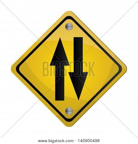flat design two way street traffic sign icon vector illustration