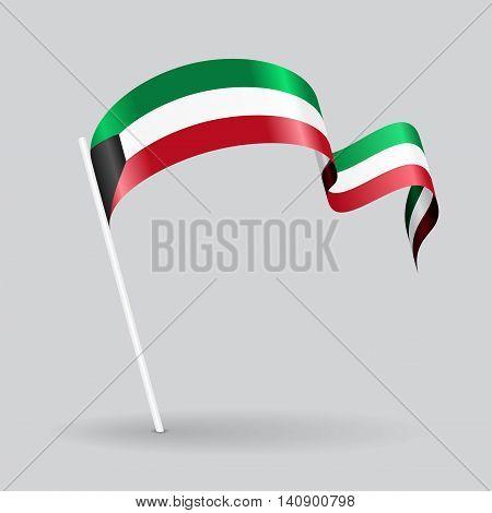 Kuwait pin icon wavy flag. Vector illustration.