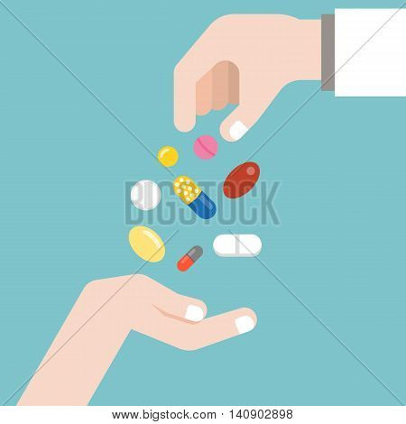Pharmacist giving medicine to patient another hand, flat design