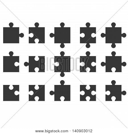 Jigsaw icon, silhouette flat design, puzzle icon