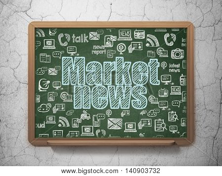 News concept: Chalk Blue text Market News on School board background with  Hand Drawn News Icons, 3D Rendering