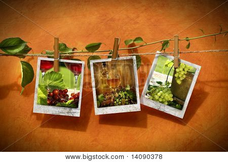 Pictures with vine pinned on clothesline