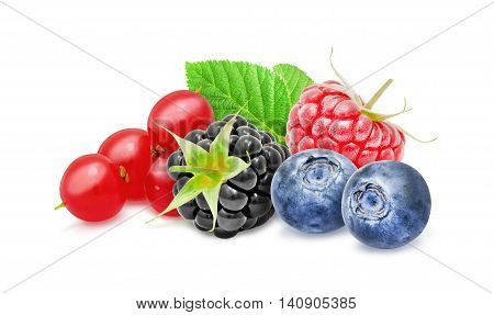 Fresh ripe redcurrant, blackberry, raspberry, blueberry berries with leaf isolated on white background. Design element for product label, catalog print, web use.