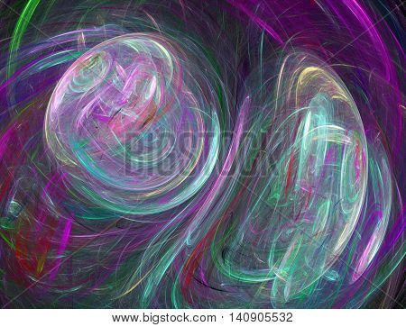 The abstract fractal recursive color structure created by the program on a black background. The recursive image for creative graphic design.