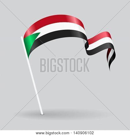 Sudanese pin icon wavy flag. Vector illustration.