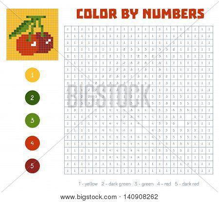 Color By Number, Fruits And Vegetables, Cherry