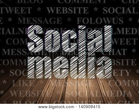 Social network concept: Glowing text Social Media in grunge dark room with Wooden Floor, black background with  Tag Cloud