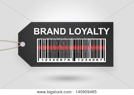 brand loyalty price tag with barcode and grey radial gradient background