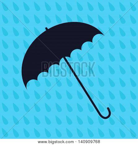 Umbrella Icon Vector. Seamless pattern of raindrops