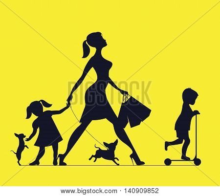 Woman with two children and dogs. Super mother doing shopping and walks with children. Vector silhouette