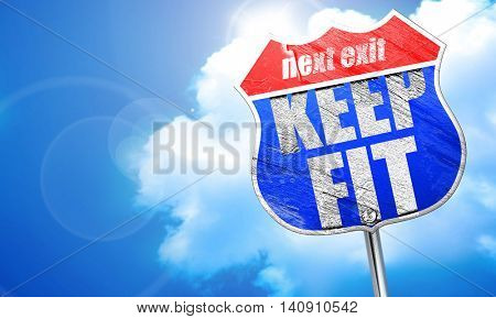keep fit, 3D rendering, blue street sign