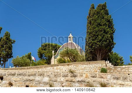 View of the Dominus Flevit Roman Catholic church on the Mount of Olives - Jerusalem, Israel