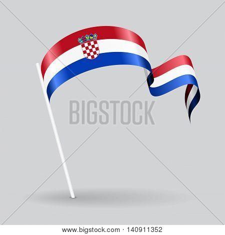 Croatian pin icon wavy flag. Vector illustration.