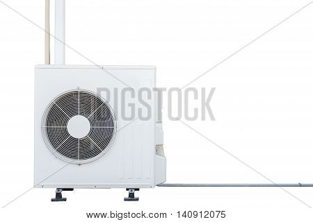 New White Air Conditioning Compressor Isolated On White. Saved With Clipping Path