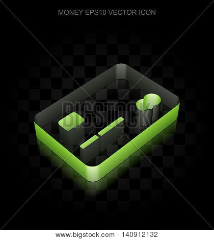 Currency icon: Green 3d Credit Card made of paper tape on black background, transparent shadow, EPS 10 vector illustration.